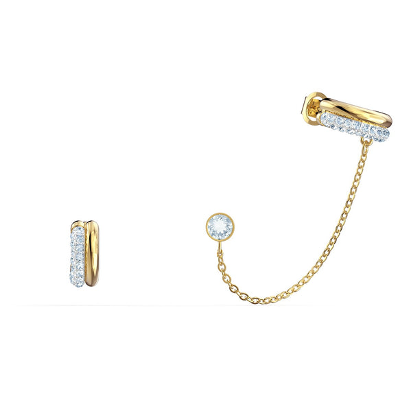 Swarovski Time Pierced Earring Cuff, White, Mixed metal finish 5566005