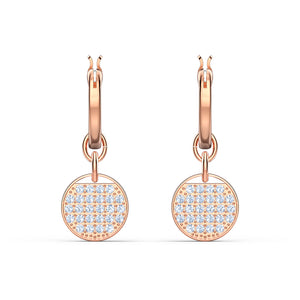 Swarovski Ginger Mini Hoop Pierced Earrings, White, Rose-gold tone plated 5567528