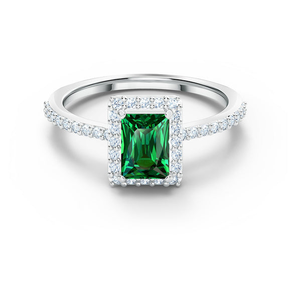 Swarovski Angelic Rectangular Ring, Green, Rhodium plated 5572663