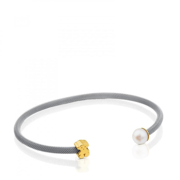 Tous Steel and Gold Icon Mesh Bracelet with Pearl 613101000