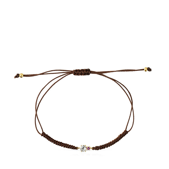 Tous Mini Ivette Bracelet in Gold with Prasiolite, Amethyst and Brown Cord 912191030