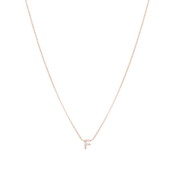 10k Gold Single Diamond Initial Necklace