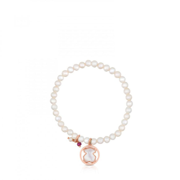 Tous Rose Vermeil Silver Camille Bracelet with Pearls, Mother-of-Pearl and Ruby 712161590