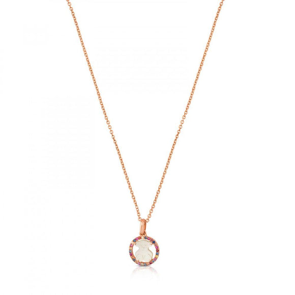 Tous Rose Vermeil Silver Camille Necklace with Mother-of-Pearl and multicolored Sapphire 712164550