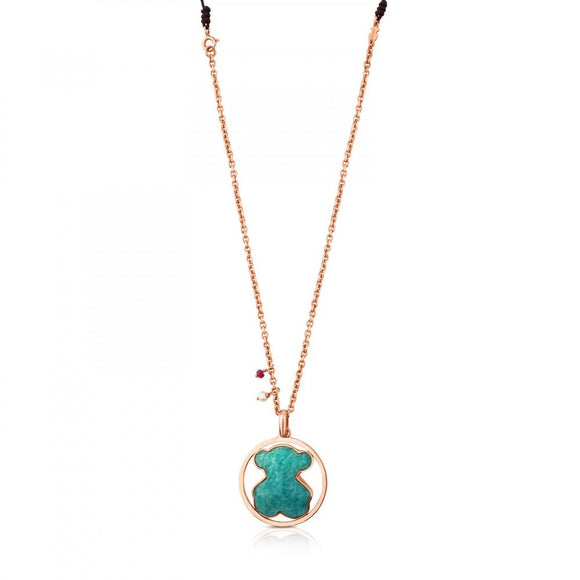 Tous Rose Vermeil Silver Camille Necklace with Amazonite, Ruby and Pearl 712164650