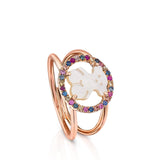Tous Rose Vermeil Silver Camille Ring with Mother-of-Pearl and multicolored Sapphire 712165521