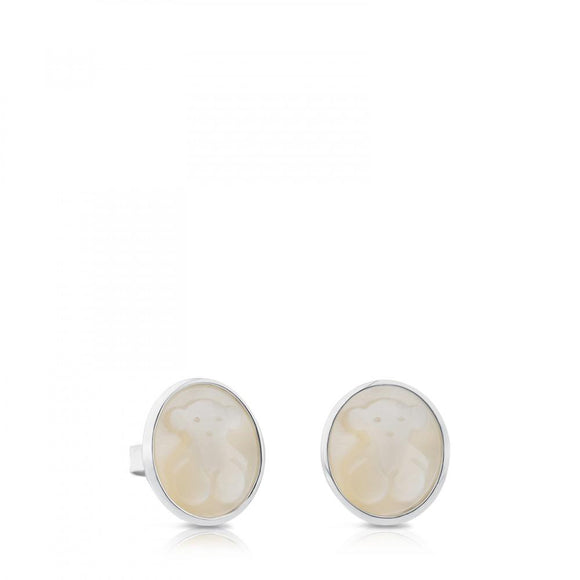 Tous Silver Camee Earrings with Mother-of-Pearl 712323580