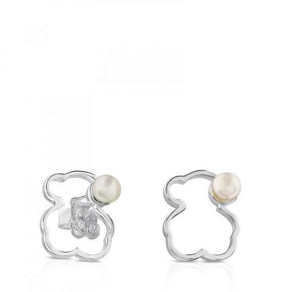 Tous Silver Silueta Earrings with Pearl 713563510