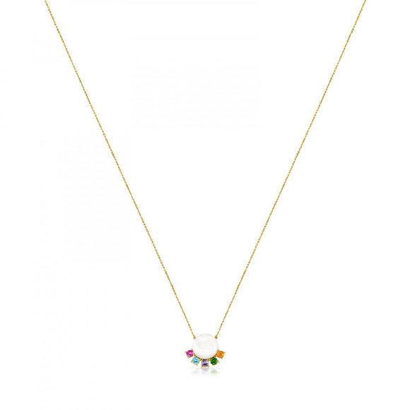 Tous Gold Real Sisy Necklace with Pearl and Gemstones 812452040