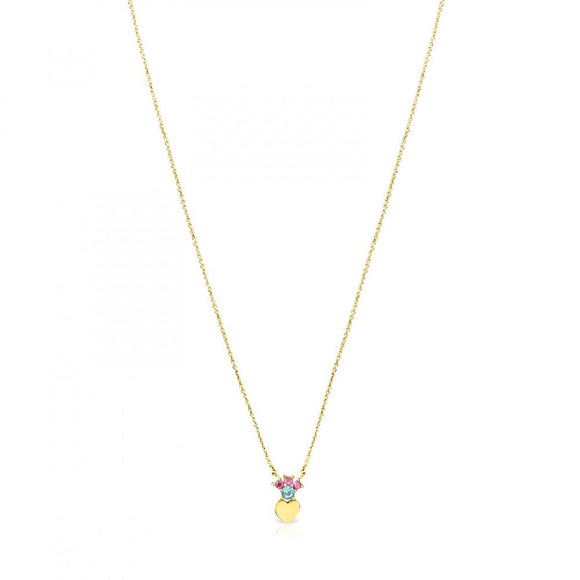 Tous Gold Real Sisy heart Necklace with Gemstones 812452050