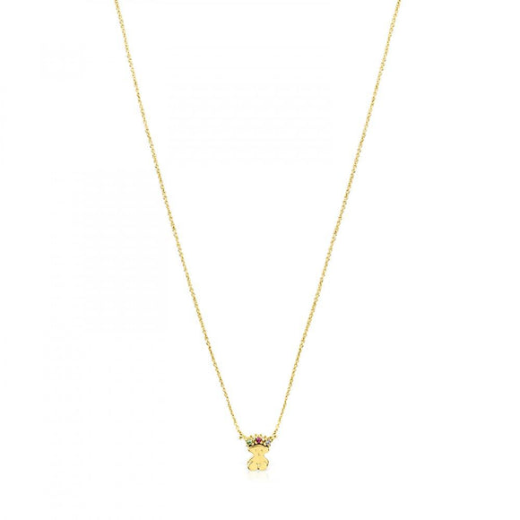 Tous Gold Real Sisy bear Necklace with Gemstones 812452070