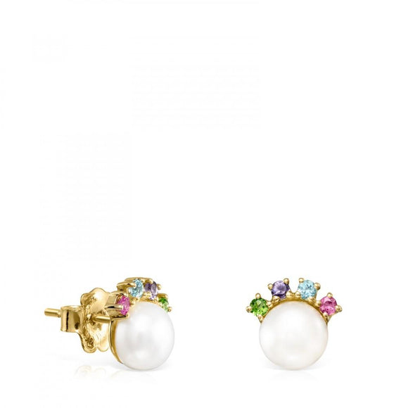 Tous Gold Real Sisy Earrings with small Pearl and Gemstones 812453020