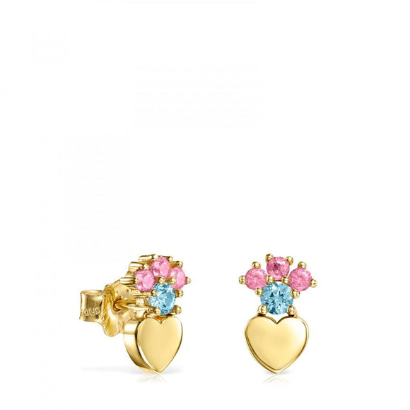 Tous Gold Real Sisy heart Earrings with Gemstones 812453030
