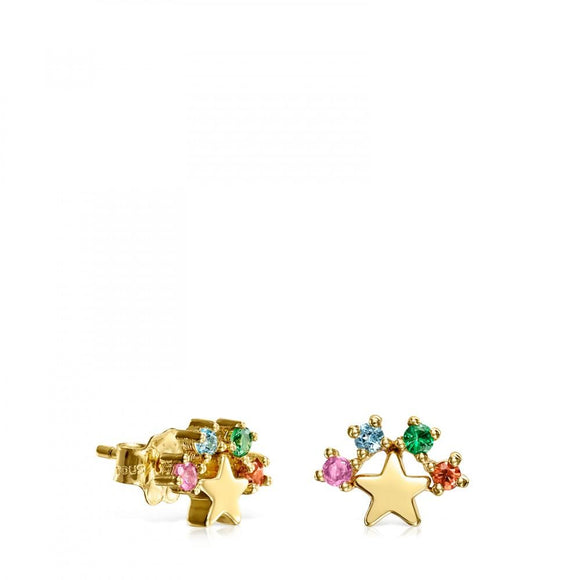 Tous Gold Real Sisy star Earrings with Gemstones 812453040