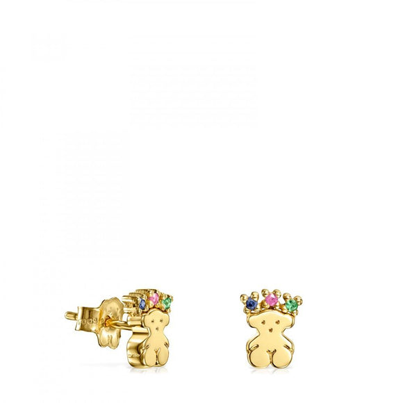 Tous Gold Real Sisy bear Earrings with Gemstones 812453050