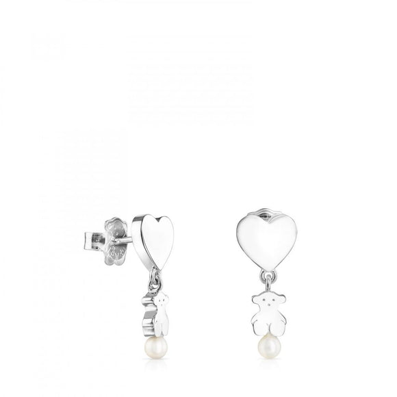 Tous Short Silver Real Sisy Earrings with Pearls 812453660