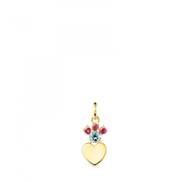 Tous Gold Real Sisy heart Pendant with Gemstones 812454020
