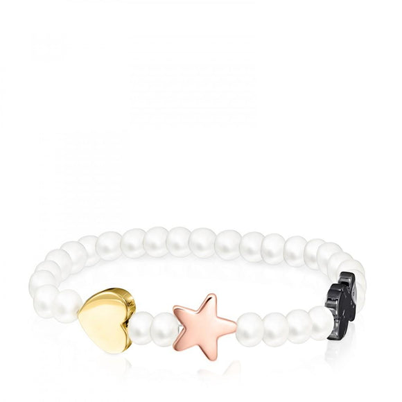 Tous Pearl Sweet Dolls Bracelet with gold and rose Vermeil Silver and Dark Silver 818021500