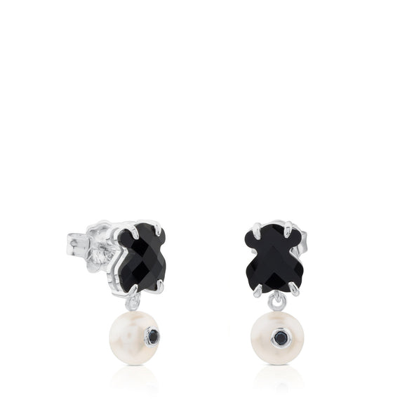 Tous Silver Erma Earrings with Onyx, Pearl and Spinel 513633500