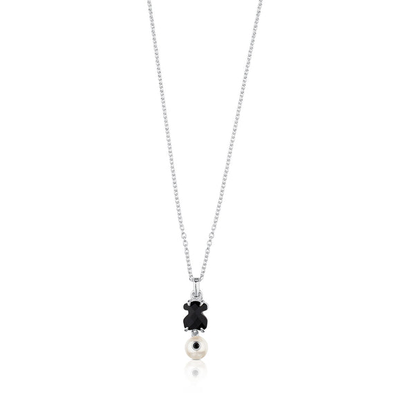 Tous Silver Erma Necklace with Onyx, Pearl and Spinel 513634500