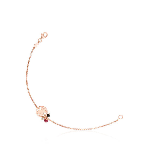 Tous Rose Vermeil Silver Camille Bracelet with Onyx, Ruby and Pearl 712161560
