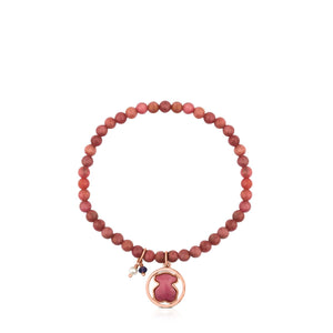 Tous Rose Vermeil Silver Camille Bracelet with Rhodonite, Iolite and Pearl 712161730