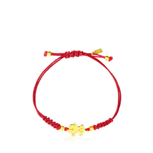Tous Silver Vermeil Sweet Dolls Bracelet with red cord 511901910