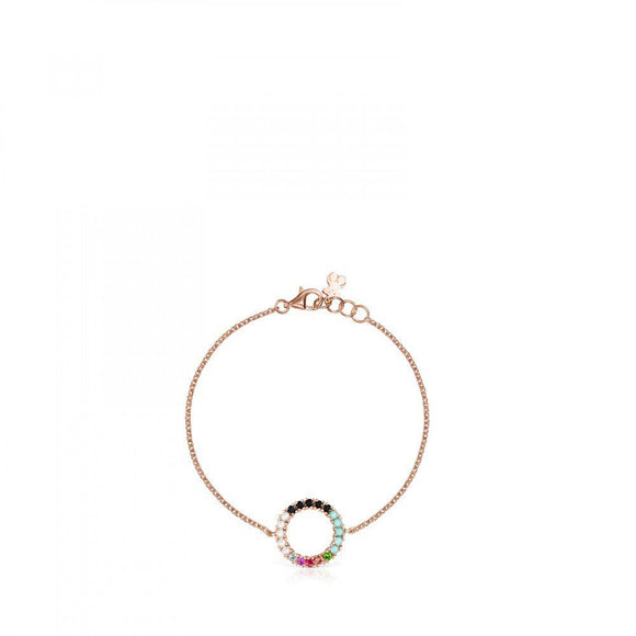 Tous Rose Gold Vermeil Straight disc Bracelet with Gemstones 912721500