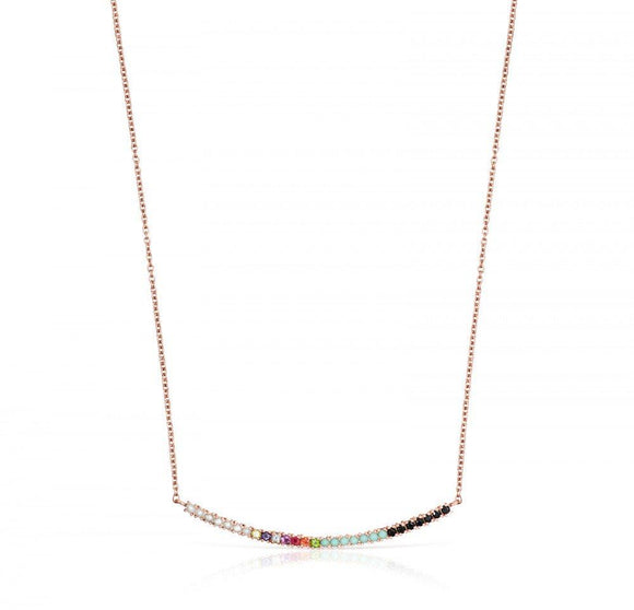Tous Rose Gold Vermeil Straight Necklace with Gemstones 912722500
