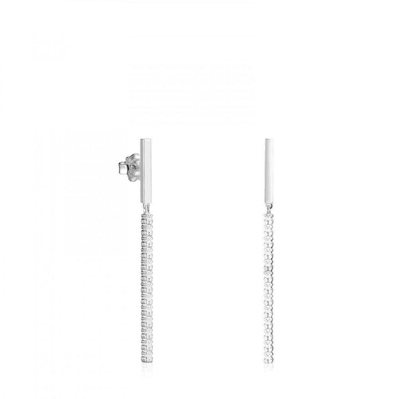 Tous Long Straight bar Earrings in Silver 912723570