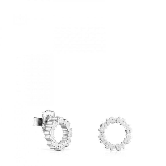 Tous Small Silver Straight disc Earrings 912723580