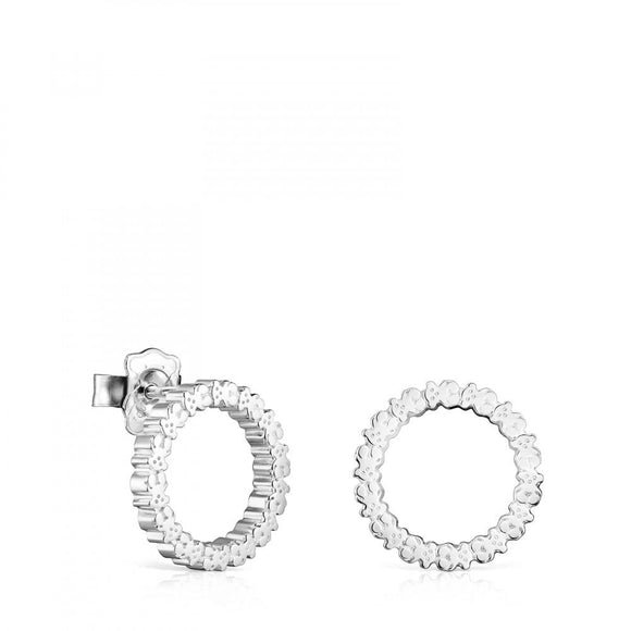 Tous Medium Silver Straight disc Earrings 912723590