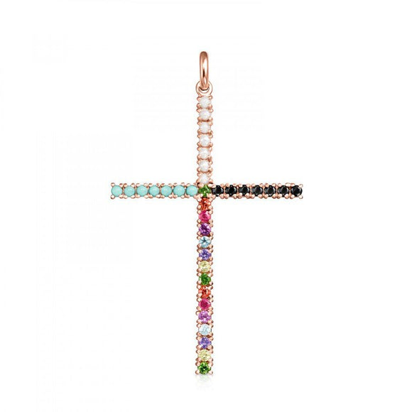 Tous Rose Gold Vermeil Straight cross Pendant with Gemstones 912724510