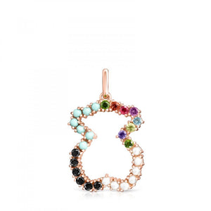 Tous Rose Gold Vermeil Straight bear Pendant with Gemstones 912724520