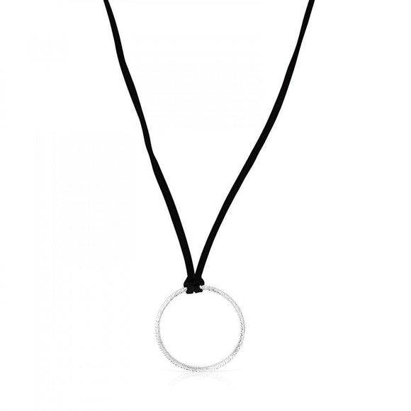 Tous Silver Straight disc Necklace with black Cord 912724540