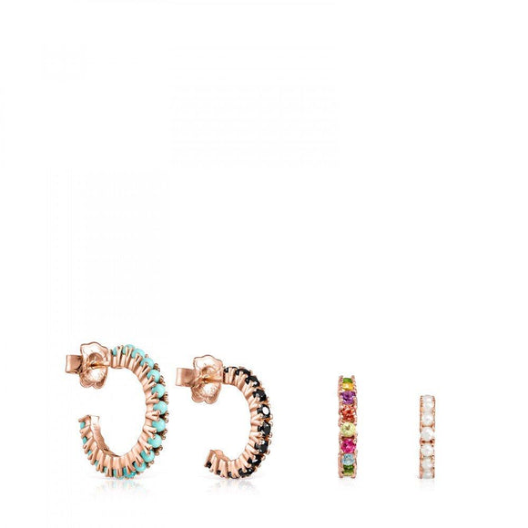 Tous Pack of Rose Gold Vermeil Straight Earrings with Gemstones 912726510