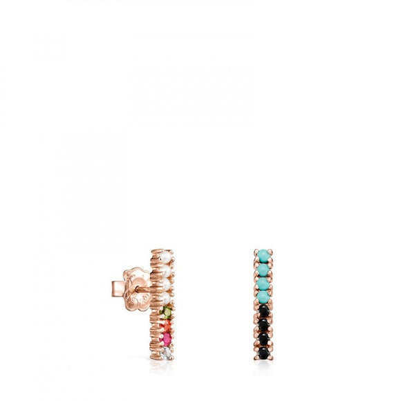 Tous Rose Gold Vermeil Straight bar Earrings with Gemstones 912726520