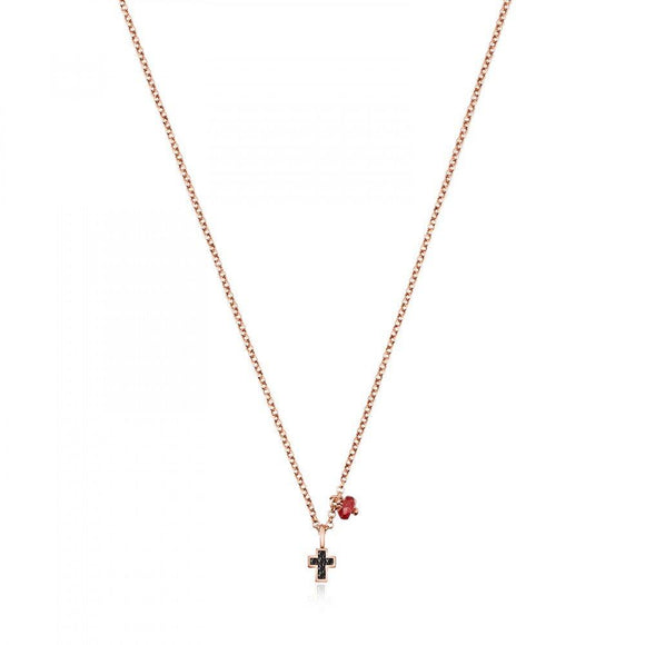 Tous Rose Gold Vermeil Motif cross Necklace with Spinels and Ruby 914932510