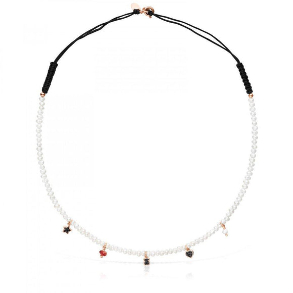 Tous Pearl and black Cord Motif Necklace with rose Gold Vermeil and Gemstones 914932520
