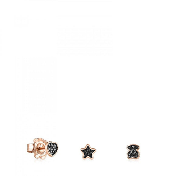 Tous Pack of rose Gold Vermeil Motif Earrings with Spinels 914933540