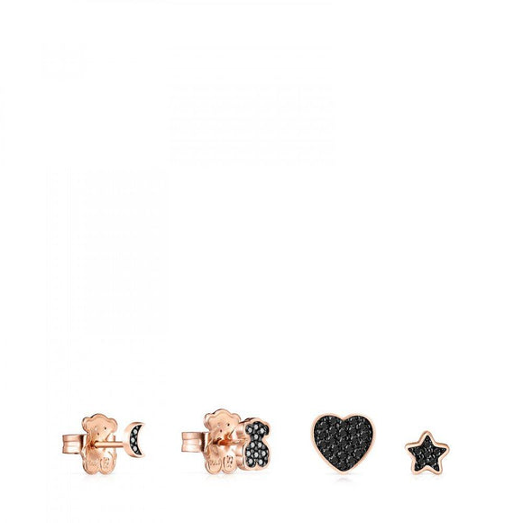 Tous Pack of rose Gold Vermeil Motif Earrings with Spinels 914933550