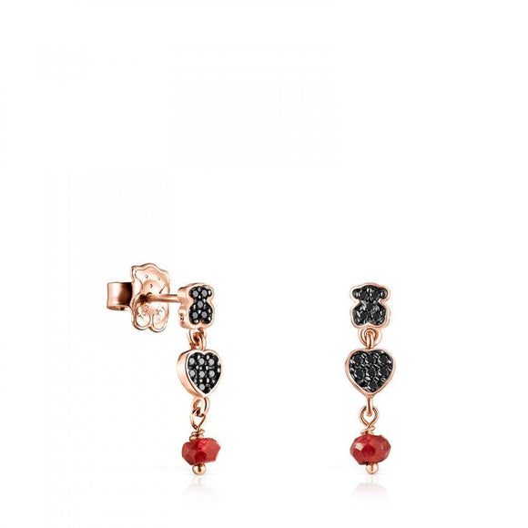 Tous  Short rose Gold Vermeil Motif Earrings with Spinels and Ruby 914933590