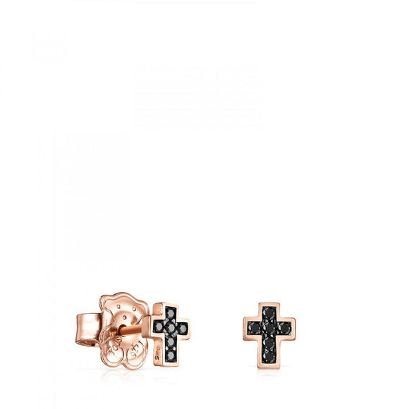 Tous Rose Gold Vermeil Motif cross Earrings with Spinels 914933600
