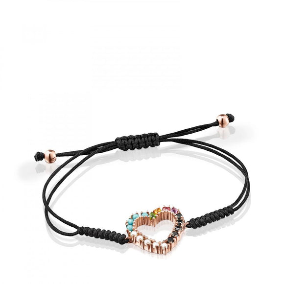 Tous Rose Gold Vermeil San Valentín heart Bracelet with Gemstones and black Cord 915301510