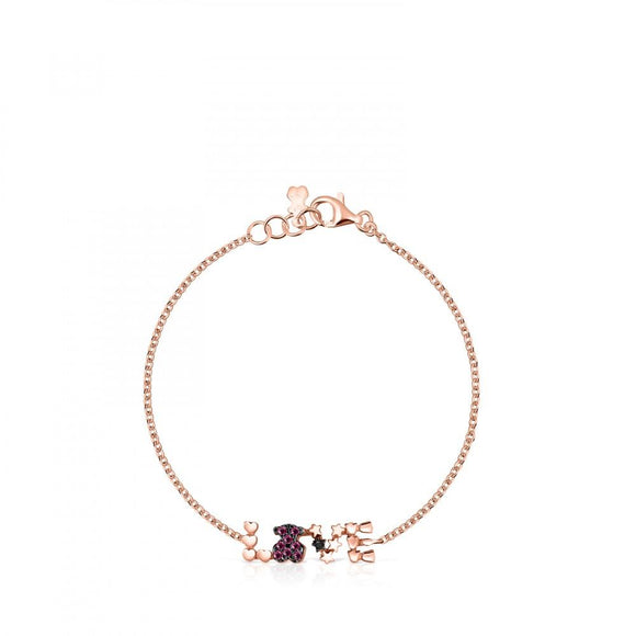 Tous Rose Gold Vermeil San Valentín love Bracelet with Ruby and Spinel 915301610