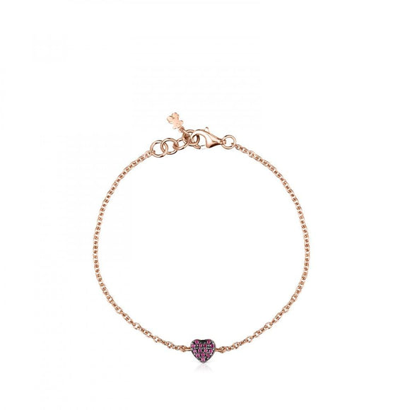 Tous Rose Gold Vermeil San Valentín heart Bracelet with Ruby 915301620