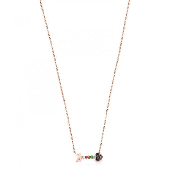 Tous Rose Gold Vermeil San Valentín arrow Necklace with Gemstones 915302500