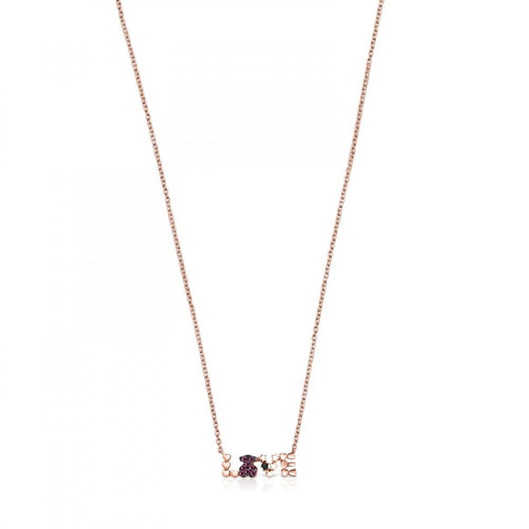 Tous Rose Gold Vermeil San Valentín love Necklace with Ruby and Spinel 915302550