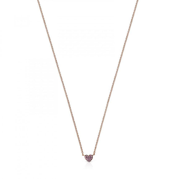 Tous Rose Gold Vermeil San Valentín heart Necklace with Ruby 915302560