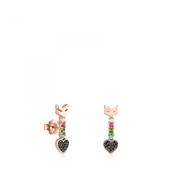 Tous Rose Gold Vermeil San Valentín arrow Earrings with Gemstones 915303500